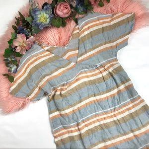 Zara Basic Striped V Neck Dress